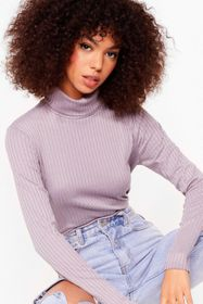 Nasty Gal Lilac Roll With It Ribbed Turtleneck Swe