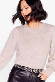 Nasty Gal Taupe Puff Sleeve 'Em to Knit Relaxed Sw