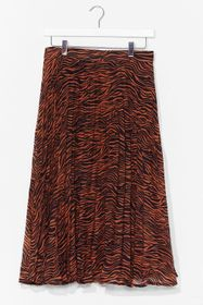 Nasty Gal Rust As You Pleat Animal Maxi Skirt
