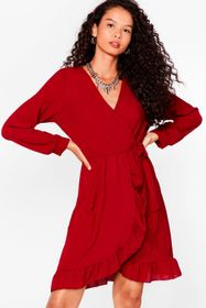 Nasty Gal Wine Frill of the Chase Wrap Mini Dress