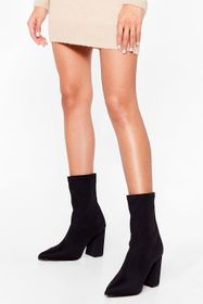 Nasty Gal Black Sock It to Me Wide Fit Heeled Boot