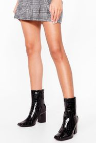 Nasty Gal Black All Toe-gether Now Croc Heeled Boo