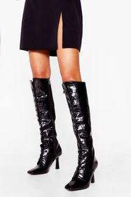 Nasty Gal Black A Little Tied Up Croc Knee High Bo