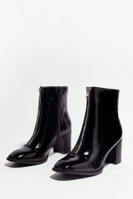 Nasty Gal Black Zip the Details Patent Heeled Boot