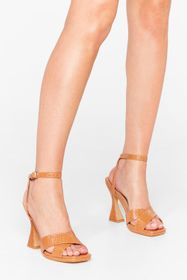 Nasty Gal Camel Croc At Nothing Faux Leather Heele