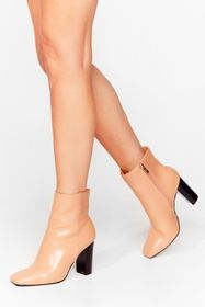 Nasty Gal Camel On Toe You Faux Leather Heeled Boo