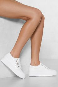 Nasty Gal White Faux Leather Sneaker with Lace Up