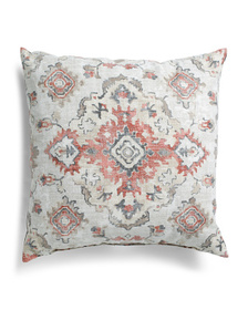 Made In Usa 24x24 Oversized Linen Medallion Pillow