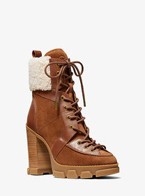 Michael Kors Ridley Leather and Sherpa Lace-Up Boo
