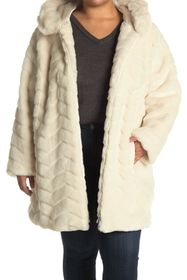 DKNY Faux Fur Hooded Coat