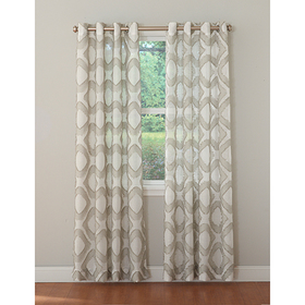 Baxter Frayed GEO Semi-Sheer Grommet Panel Curtain
