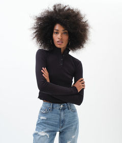 Aeropostale Long Sleeve Buttoned Mock-Neck Crop To