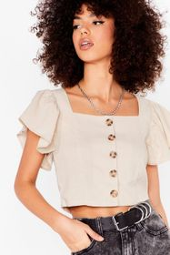 Nasty Gal Beige Such an Angel Sleeve Cropped Butto