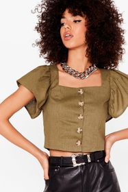 Nasty Gal Khaki Such an Angel Sleeve Cropped Butto