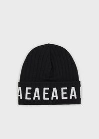 Armani Wool beanie with sequinned EA logo