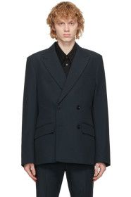 Rochas Homme - Navy Wool Double-Breasted Blazer