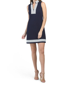 Mandarin Collar Sheath Dress With Trim