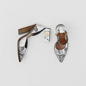 Burberry Monkey Print Leather Point-toe Pumps in B