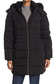 DKNY Faux Fur Trim Hooded Puffer Parka