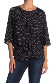 Vince Camuto Bell Sleeve Tie Front Dot Print Top