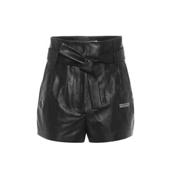 Off-White High-rise leather paperbag shorts