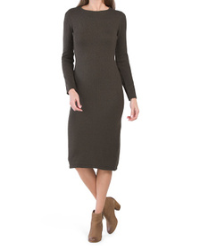 Long Sleeve Jewel Neck Midi Dress