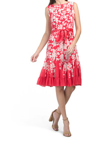 Printed Sleeveless Pintuck Pleat Dress