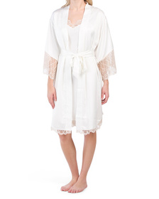 Gabby Charmeuse Lace Chemise And Robe Collection