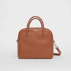 Burberry Medium Leather Cube Bag in Malt Brown