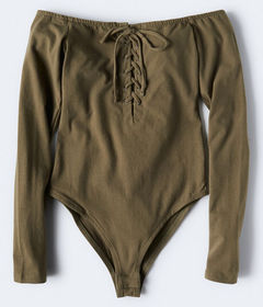 Aeropostale Long Sleeve Lace-Up Off-The-Shoulder B