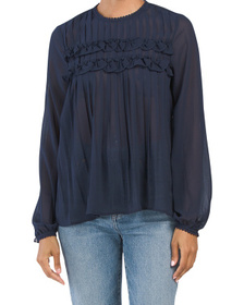 Long Peasant Sleeve Ruffle Front Blouse