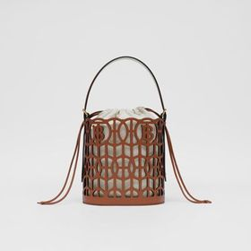 Burberry Leather Rose Bucket Bag in Tan