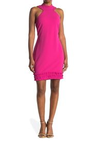 bebe Scuba Ruffle Hem Halter Dress