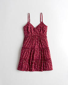 Hollister Wrap-Front Tiered Mini Dress, RED PATTER