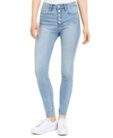 Button-Fly High-Rise Ankle Skinny Jeans