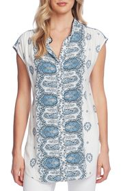 Vince Camuto Sleeveless Button Down Medallion Top