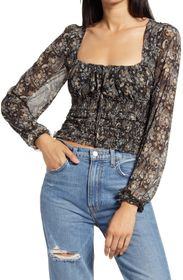 Free People Lolita Floral Print Blouse