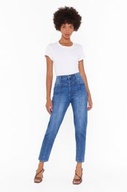 Nasty Gal Blue Nothing to Seam Here High-Waisted M