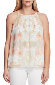 Vince Camuto Pleat Front Blistered Tie Dye Top