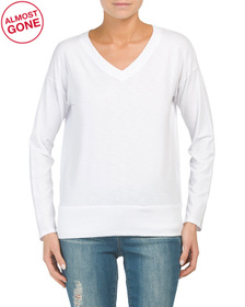 Long Sleeve Dropped Shoulder V-neck Top