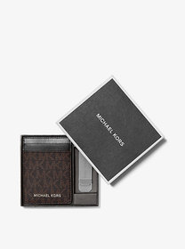 Michael Kors Logo Card Case with Bill Clip