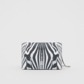 Burberry Zebra Print Leather Card Case with Detach