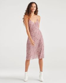7 For All Mankind Seamed Chiffon Slip Dress in Ros