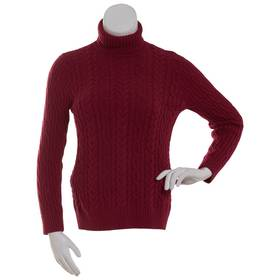 Womens Jeanne Pierre Fisherman Cable Knit Turtlene