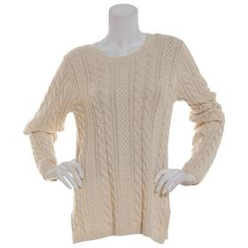 Womens Jeanne Pierre Fisherman Cable Knit Crew Nec