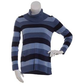 Womens Jeanne Pierre Fine Gauge Cowl Neck Stripe T