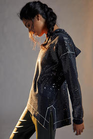 Anthropologie Gracie Sequined Tunic Hoodie