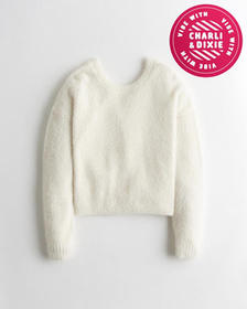 Hollister Cozy Reversible Twist Sweater, WHITE