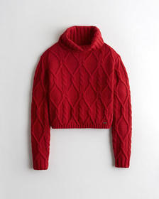 Hollister Cable Turtleneck Sweater, RED