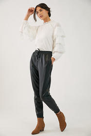Anthropologie Faisa Faux Leather Joggers